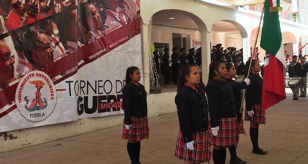 Antorcha realiza encuentro de bandas de guerra en Ocoyucan