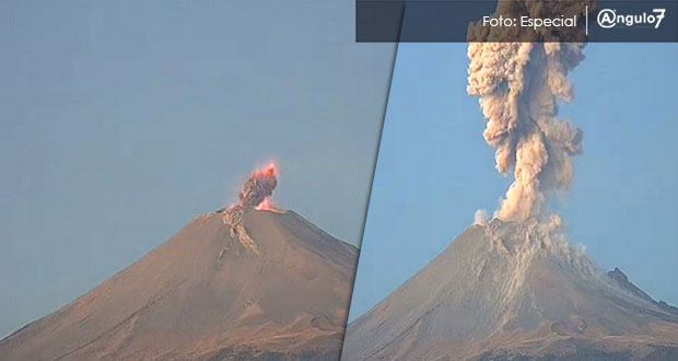 Popocatépetl registra 5 erupciones; habrá caída de ceniza hasta el lunes