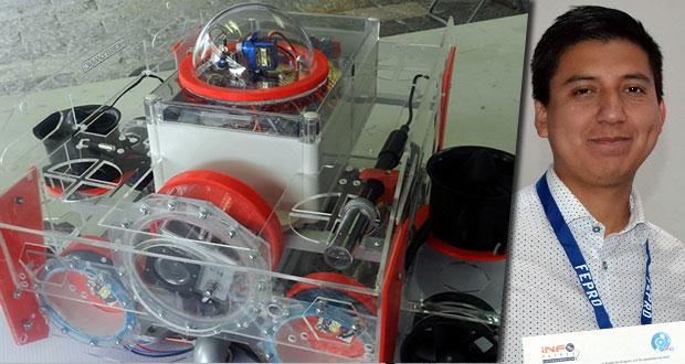 Alumno de BUAP crea robot que analiza contaminación de agua en ríos