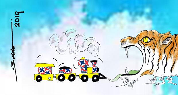 Caricatura: La máquina va directo a la boca del tigre