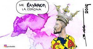Caricatura: Le rayan la corona al campeón