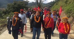 Inauguran pavimentación de calle en Huilacapixtla, Huauchinango