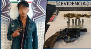 SSP detienen a menor con arma y mariguana en Barrio de Santiago