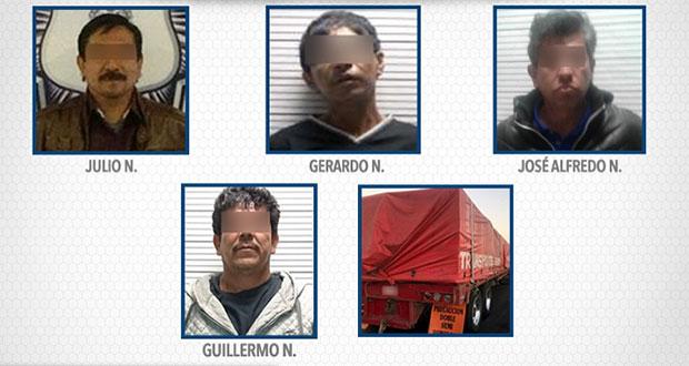 SSP asegura a cuatro por diferentes delitos en Coronango y Puebla