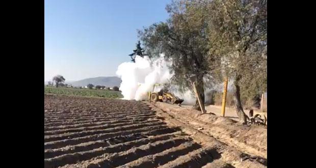 Puebla encabeza robo de gas LP en 1T de 2019; tomas clandestinas suben 326%.  Foto: Twitter / @PF_Carreteras