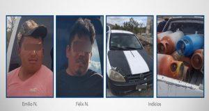 Detienen a dos supuestos ladrones de tanques de gas LP en Tepeaca