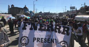 Fnerrr marcha en Amozoc para exigir pago de sueldo a 27 maestros