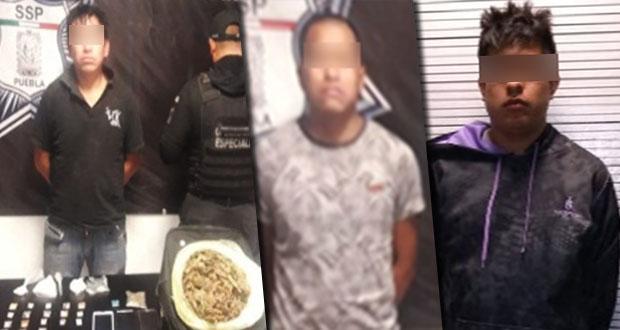 Aseguran a tres hombres por poseer droga en Ocoyucan y San Andrés