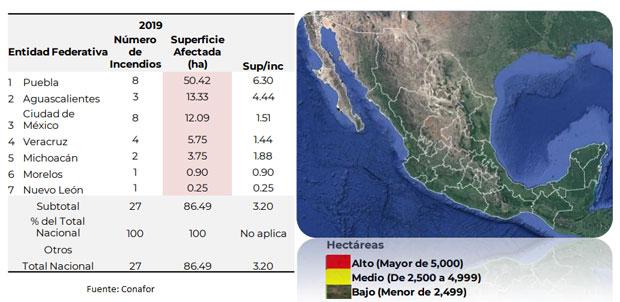 En primeros 10 días de enero, Puebla lidera en incendios forestales: Conafor