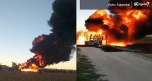 Toma clandestina se incendia en Ahuazotepec; evacúan y suspenden clases