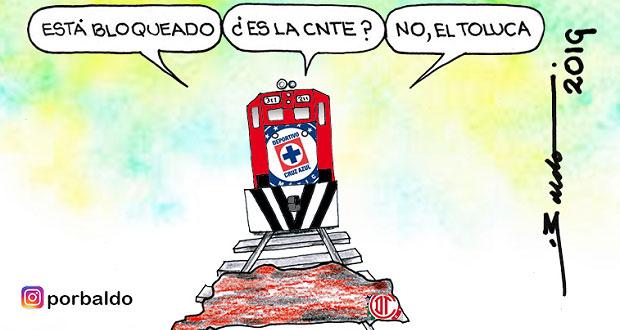 Caricatura: La Máquina contra el bloqueo ferroviario