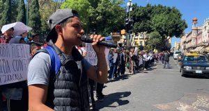 Fnerrr realiza cadena humana en apoyo a estudiantes de Tlaxcala