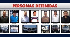 Detienen a 7 hombres por poseer vehículos robados en 4 municipios
