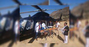 Helicóptero del estado traslada a menor a hospital de la Angelópolis
