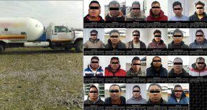 FGR asegura a 23 personas y 140 mil litros de gas robado en Puebla