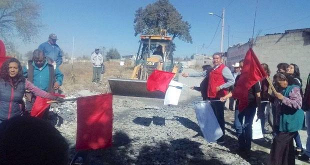 Inicia pavimentación de 19 Oriente en barrio Quecholac de El Seco