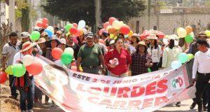 Candidata antorchista inicia campaña por alcaldía de Cañada Morelos