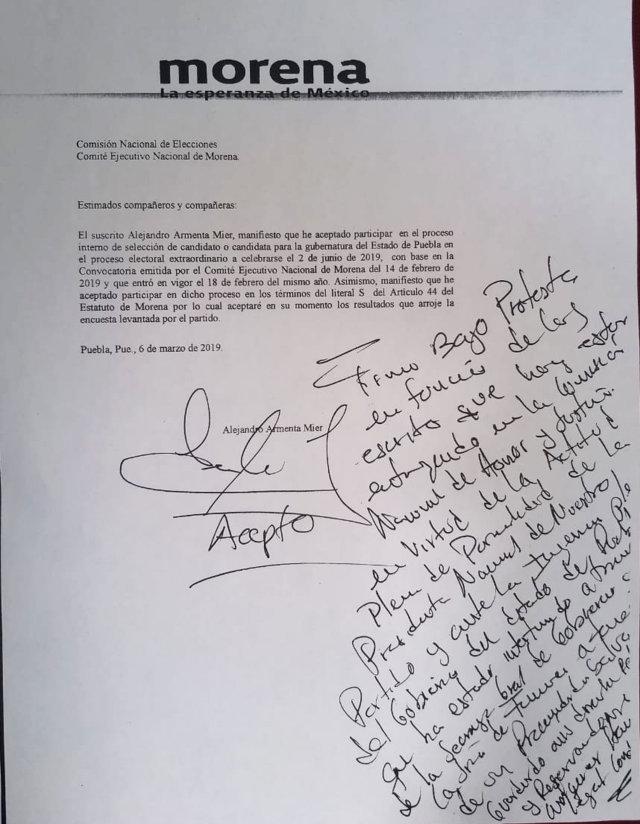 Armenta condicionó apoyo a Barbosa pidiendo espacios en gobierno: Morena