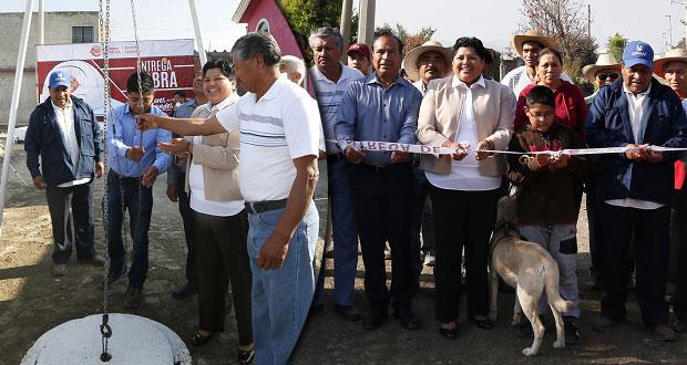 Karin Pérez entrega primera obra terminada en Tonantzintla