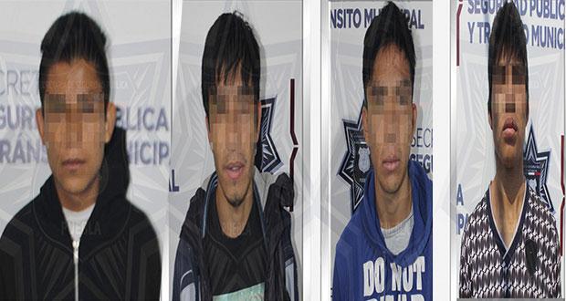 Aprehenden a cinco sujetos en diversas colonias de Puebla capital