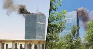 Bomberos sofocan incendio en torre Titanium; no reportan lesionados