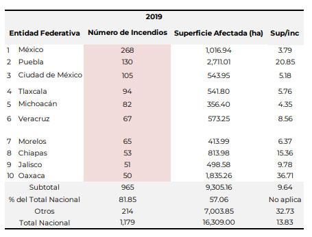 Puebla suma 2,711 hectáreas afectadas por incendios forestales; es 1er lugar