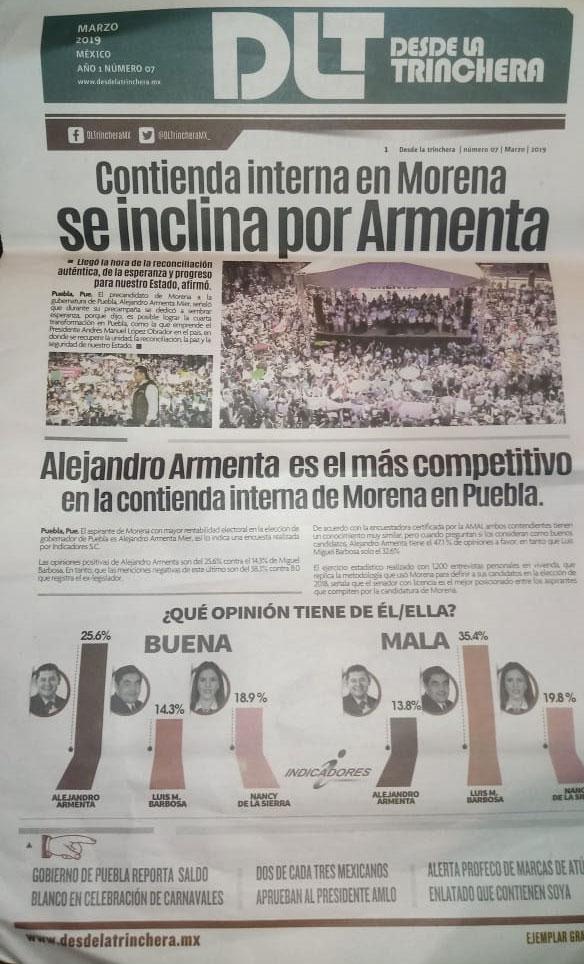Reparten periódicos afirmando que Armenta lleva delantera en encuesta