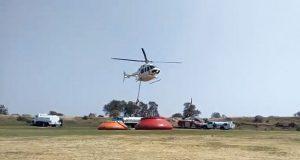 Aeronave cisterna combate incendio forestal en Tepeyahualco: PC