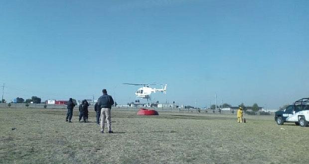 Aeronaves y brigadas combaten incendios en Tlachichuca y Ahuazotepec