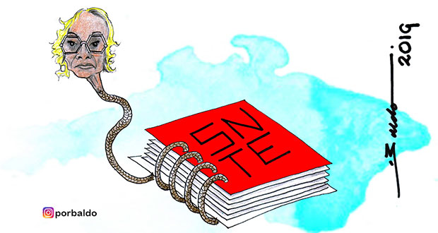 Caricatura: El espiral de la SNTE