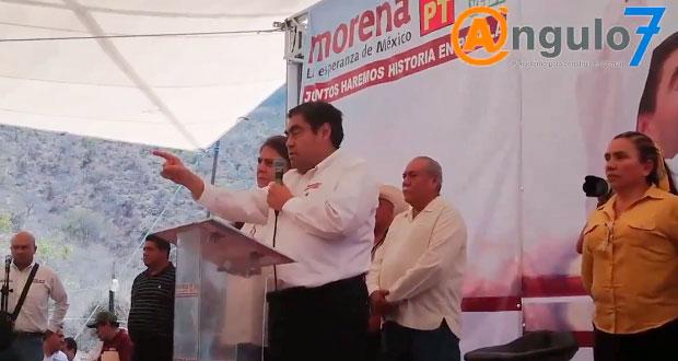 En Chiautla, Barbosa afirma que no cederá a chantajes de Alejandro Armenta