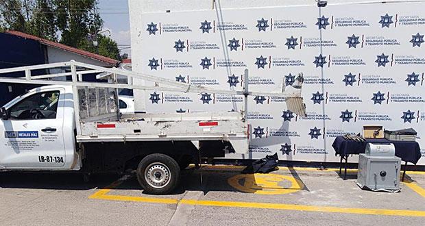 Recuperan en San Miguel Canoa caja fuerte robada a tienda de metales