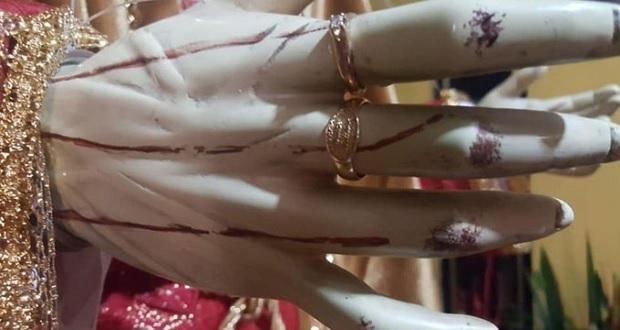 Roban anillo de oro a imagen religiosa en Huejotzingo