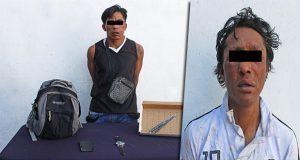 Policías municipales detienen a dos asaltantes en Puebla capital