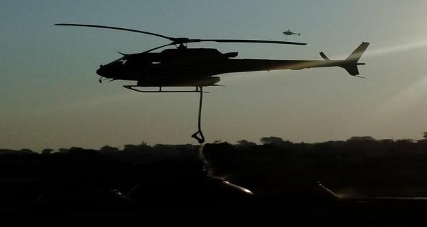 Gobierno estatal combate con dos helicópteros incendio en El Pinal