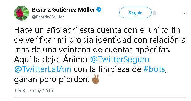 Beatriz Gutiérrez Müller dice adiós a su cuenta de Twitter
