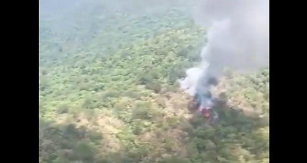 Cae helicóptero de Marina con 5 que combatían incendios en Querétaro