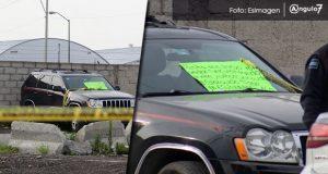 Hallan cadáver en camioneta con amenaza cerca del Parque Industrial Chachapa