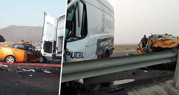 Choque de particular y unidad de SS en la Teziutlán-Virreyes deja 3 muertos
