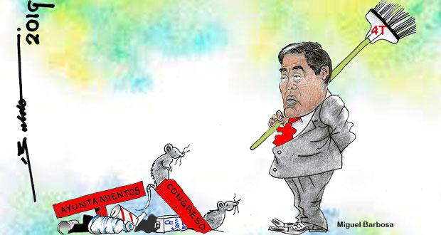 Caricatura: Barbosa prepara la escoba de la 4T