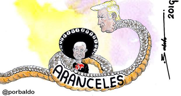 Caricatura: La víbora de Trump asfixiando a México