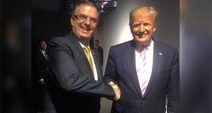 En inicio de G-20, Ebrard estrecha mano y se toma foto con Trump