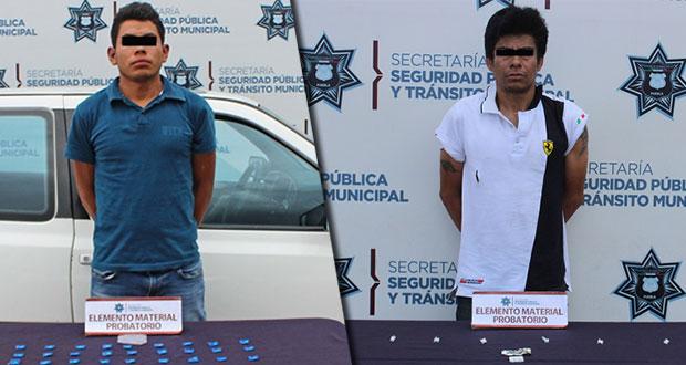 Recuperan 40 dosis de droga y detienen a 2 en la Angelópolis