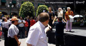Mitines contra y pro AMLO en el centro confrontan a poblanos