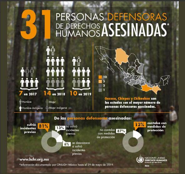 Puebla, de los 12 estados con asesinatos de defensores de DH: ONU