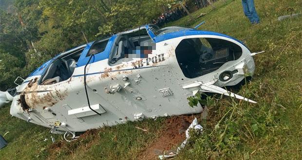Investigan extraña caída de helicóptero que dejó un muerto en Edomex