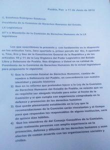 Proponen a Congreso poblano que no sólo abogado pueda dirigir CDH