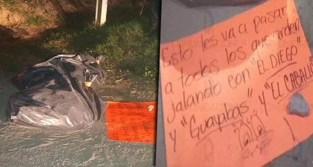 Hallan dos cadáveres embolsados y con narcomensaje en Tlalancaleca