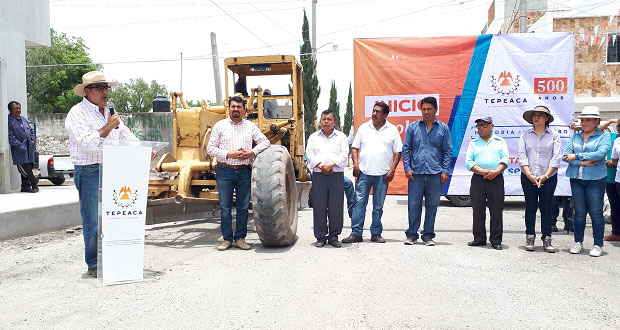 Con concreto asfáltico, inicia rehabilitación calle 3 sur de Tepeaca