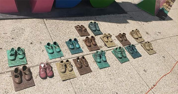En CDMX, roban zapatos de bronce del memorial de guardería ABC
